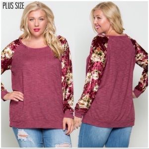 Tops - Plus Size Burgundy Velvet Sleeve Tee